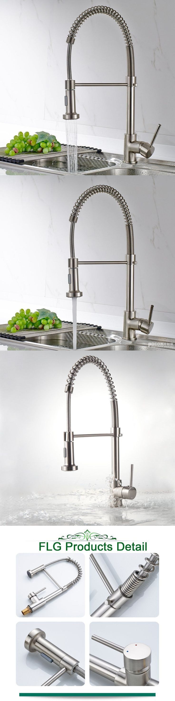 Bathroom sink faucet one hole double handle basin mixer tap ebay - Faucets 42024 Flg Kitchen Faucet Brushed Nickel Basin Sink Mixer Taps With Pull Out Sprayer