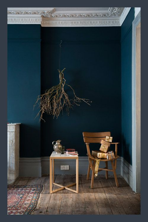 Seasonal color story from the masters at Farrow & Ball. Walls in Hague Blue No.30, Skirting in Manor House Gray No.265 and Ceiling in Strong White No.2001.