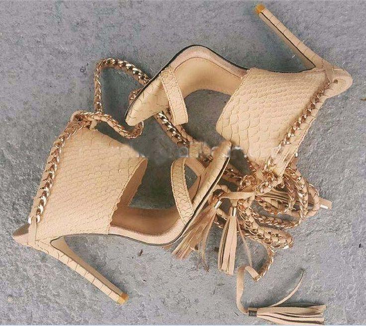 Gold Chain Decorate Tassels Platform Stiletto Heels High Sandals