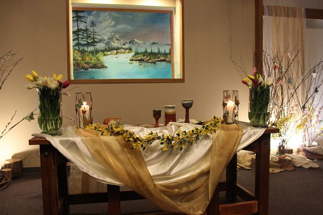 2014 Easter Vigil    Easter Vigil communion table - from bare to beautiful