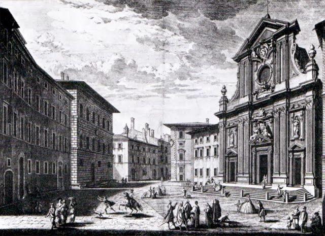 Giuseppe Zocchi Piazza Antinori con la chiesa San Michele e Gaetano nel 1744.