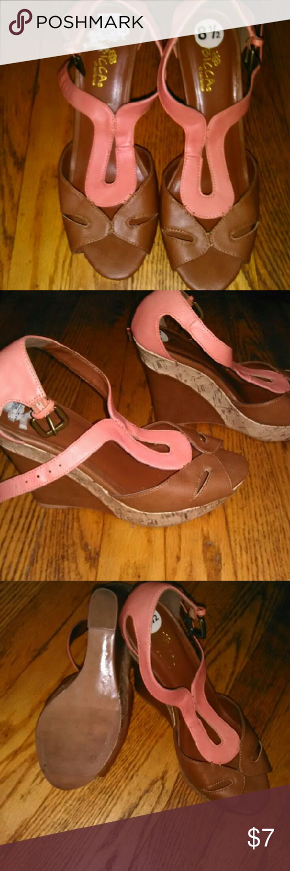 Chunky wedges Light brown base with pretty peach top. Shoes Wedges
