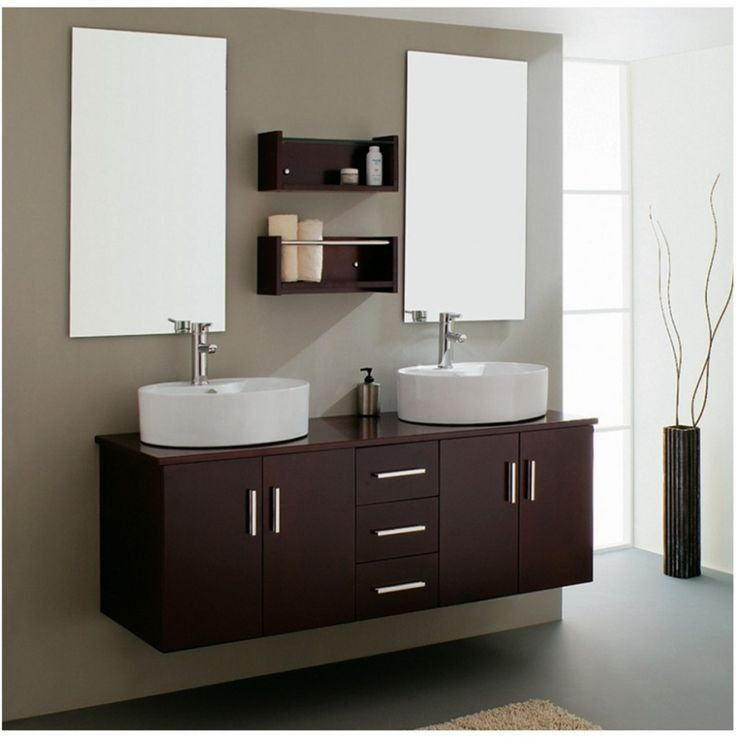 Photo Of Bathroom Furniture Pretty Wall Mounted Espresso Double Rounded Sink Bathroom Vanities Ikea With Storage Feat Double Wall Mirror As Well As Floating Soap
