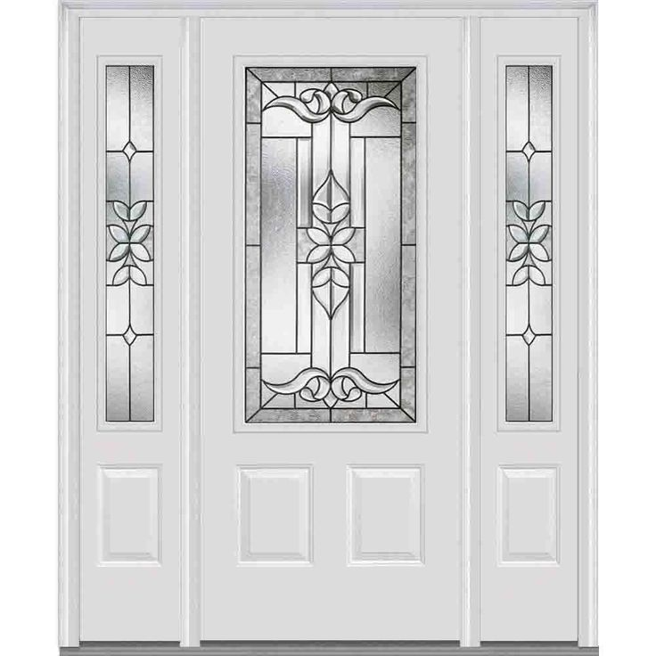 decorative glass 3 4 lite painted fiberglass smooth prehung front door