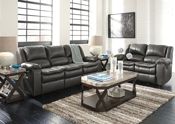 Long Knight Gray Power Reclining Sofa Loveseat 2pc Set