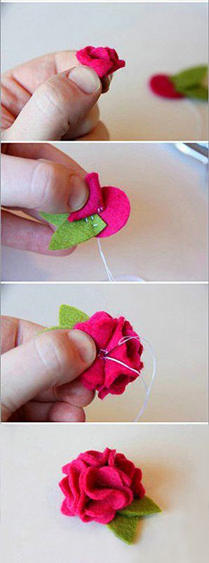 DIY flower out of felt Cute to make some hair clips.