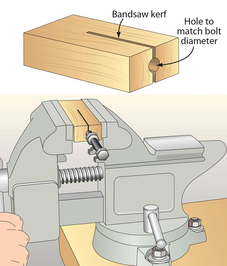 To cut bolts to length with a hacksaw, I made a simple bolt-holding vise jig from a piece of scrap hardwood. After drilling a hole the length of the scrap, where shown, I cut partially through the center of the jig with my bandsaw. When tightened in a bench vise, those jaws pinch the bolt firmly for a wiggle-free cut. And here's a trick to clear those threads that invariably get messed up during the cut: Thread a nut up the bolt before you cut; then remove it after. This cleans up any…