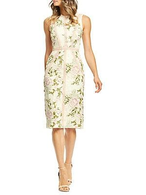 18bca6650cd Dress The Population Penelope Floral Lace-Trim Sheath Dress
