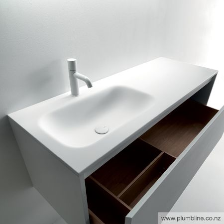 ViaVeneto Fresh 1200 Vanity LH Basin Matt White Cabinet
