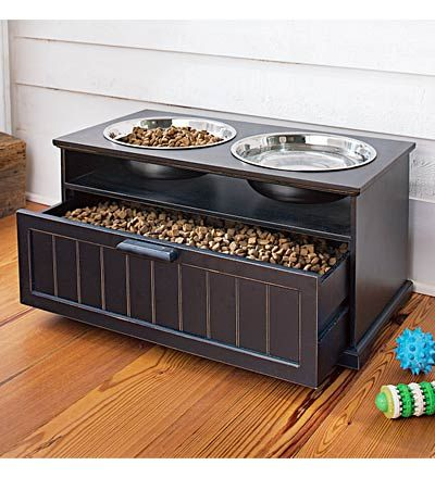 I like the idea of this dog feeder. Not only because of it's stylish design and the fact that raised bowls are better for your dogs. I like it that it comes with a drawer underneath that you can store food, treats or your dog's toys. An especially nice feature for dog lovers with limited space.