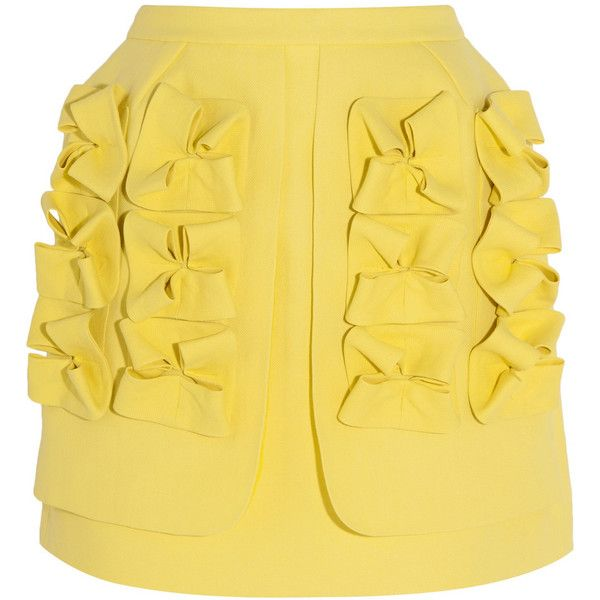 DELPOZO Appliquéd paper-canvas mini skirt (895 AUD) ❤ liked on Polyvore featuring skirts, mini skirts, bright yellow, yellow mini skirt, zipper skirt, mini skirt, short skirts and yellow skirt