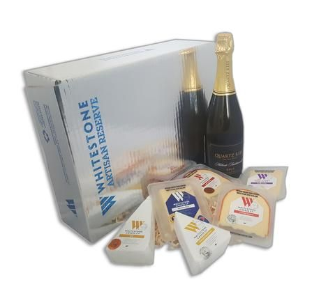 Whitestone Cheese Co Giftbox with Bubbles - A lovely gift hamper containing six award winning varieties of Whitestone Cheese Co's range and a premium bottle of Quartz Reef Methode Traditionnelle Brut.