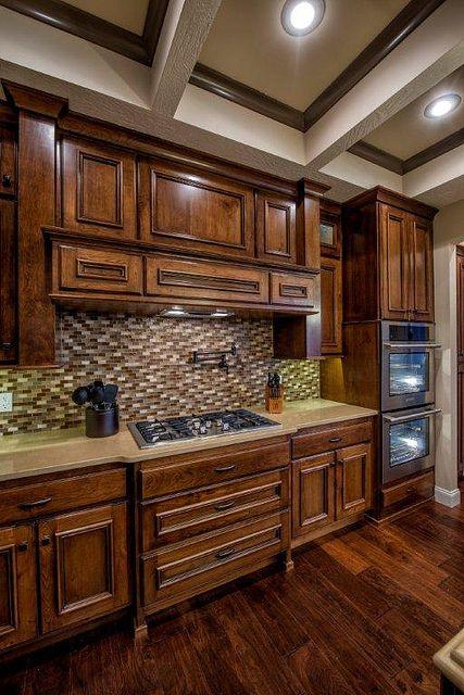 Kitchen; knotty cherry cabinets; glass tile; quartz ...