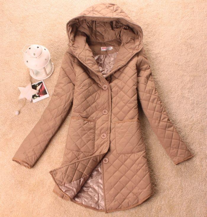 2013 mulher outono e inverno longo- manga com um capuz dimond xadrez médio- algodão longa- acolchoado jaqueta slim fino revestimento wadded 22.38