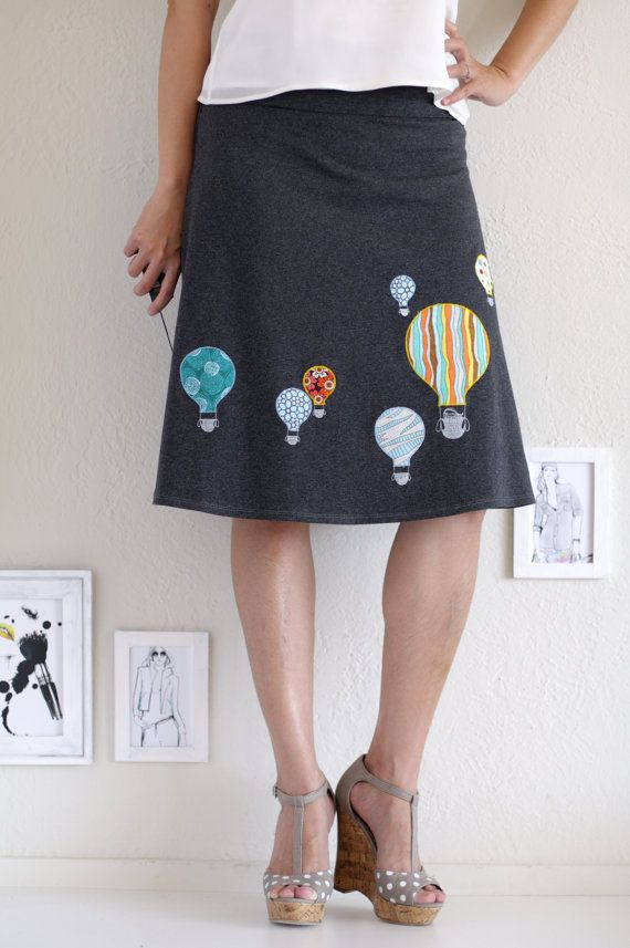Handmade Applique Skirt . Gray Cotton Skirt .  by Zoeslollipop, $58.00
