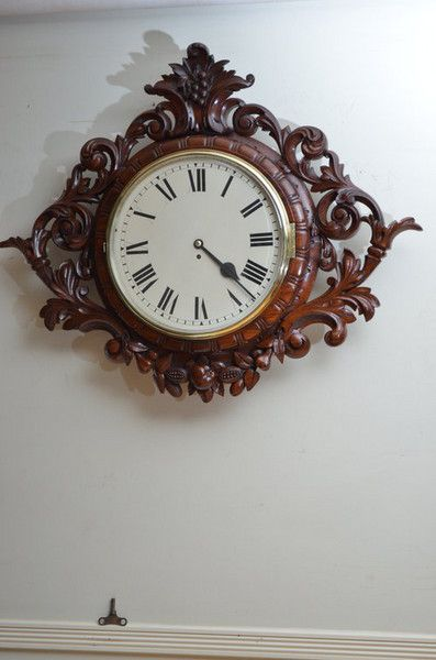 ~ Exceptional Victorian Wall Clock, c. 1860 England ~ onlinegalleries.com