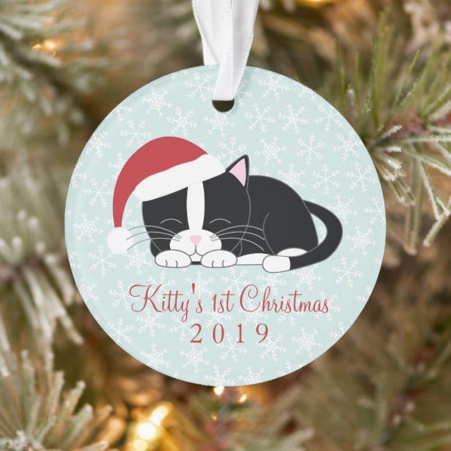 Tuxedo Cat Personalized Photo Christmas Ornament Zazzle Com Photo Christmas Ornaments Christmas Photos Customized Photo Gifts