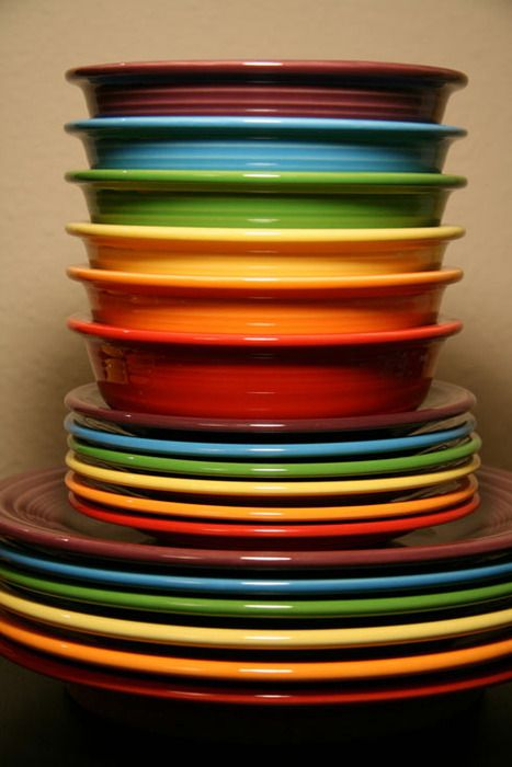Fiesta dishes . . . I have them in brown and use different chargers to change up the look.
