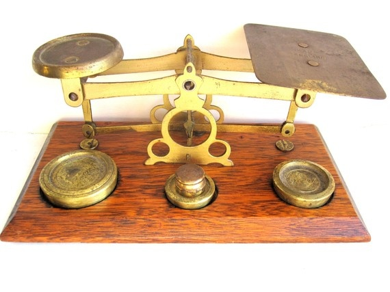 Victorian Postal Letter Weighing Scales English Antique In -3783