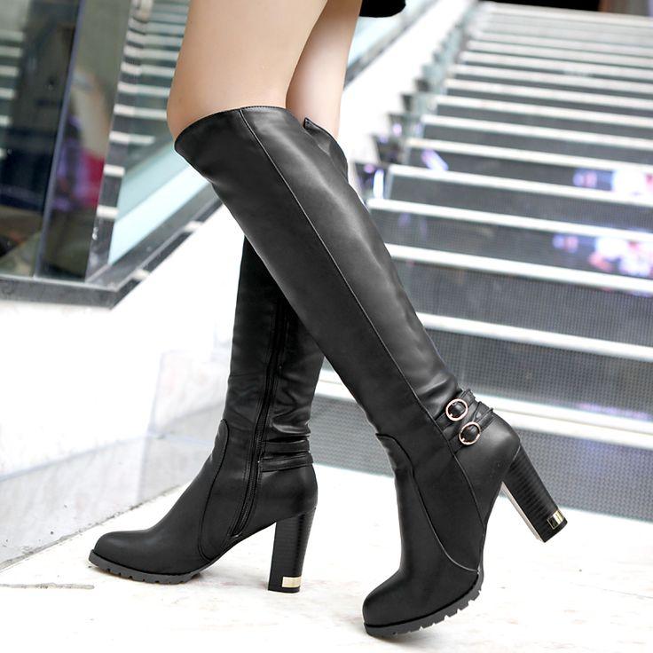 Barato Inverno nova lã de carneiro dentro cavaleiro botas mulheres de salto alto botas até o joelho, Botas até o joelho zipper, Compro Qualidade Botas diretamente de fornecedores da China: