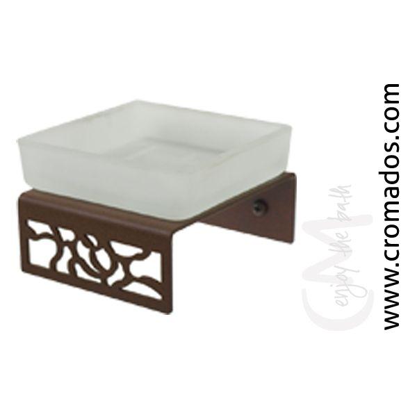 Jabonera ARD03 de la serie Art Decó de CM Baños. Medidas: 10x10x6,5. Acabado en marrón forja con opción a blanco texturizado y negro forja. Estilo art decó rústico.