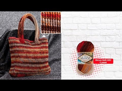 Alize Burcum Batik ile Tığ İşi Çanta - A Crochet Bag with Alize Burcum Batik - YouTube