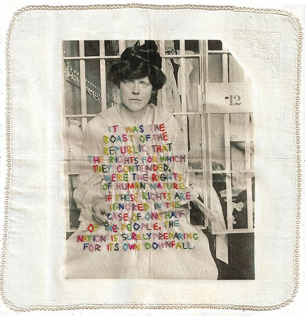 pages from The Needle and the Sword project. Heat transfer image on vintage handkerchief, watercolor pencil, embroidery.