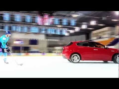 car hockey ice and cool stunt...can't beat that.