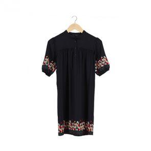 Navy Silk Embroidery Mini Dress
