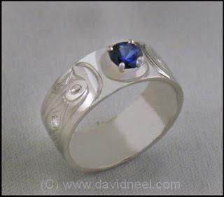 Orca Ring - platinum and sapphire.   #northwestNativeIndianArtJewelry    www.davidneel.com
