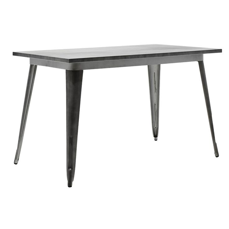 Metal table black silver 120x70x75,5cm