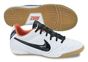 Nike Tiempo Natural IV (Leather) Youth Indoor Soccer Shoes (White/Total Crimson/Black)