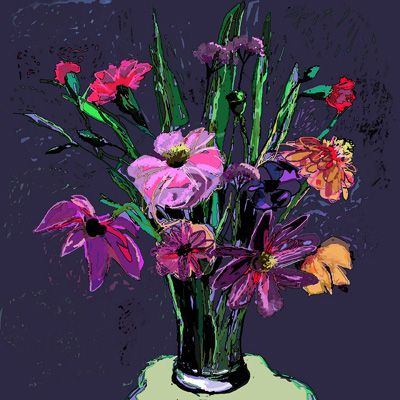 flowers in a glass, Kathy Lewis. Digital art. iPad painting.