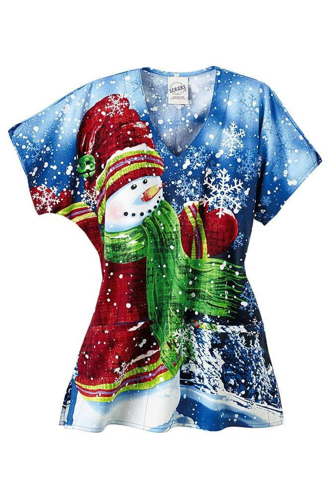 Christmas Scrubs Tops