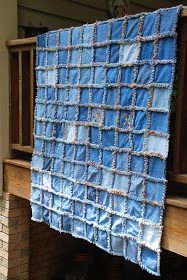 blue jean rag quilt diy... For all of the boys jeans that have holes!