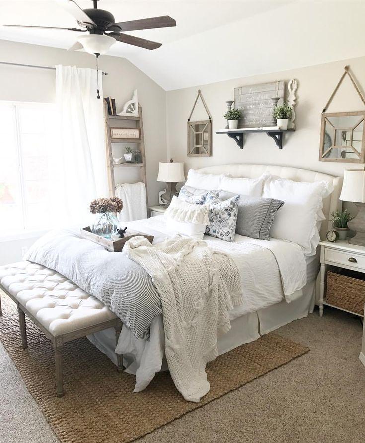Sw Modern Gray Walls White Comforter Target Ikea Striped Duvet And Shams Rustic Master Bedroom Farmhouse Bedroom Decor Home Decor Bedroom
