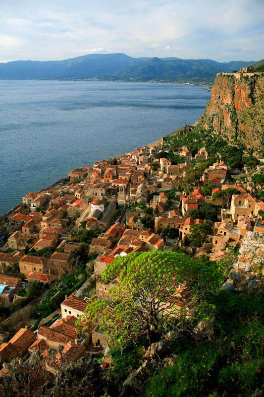 Arial view of Monemvasia in the southeastern Peloponnese in the prefecture of Laconia