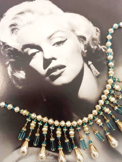 Vintage Miriam Haskell Necklace Glass Bib Teal Baroque Pearls by GalleryThreeSixty, $574.95