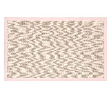 Chenille Jute Thick Solid Border Rug, 9x12 Feet, Light Pink
