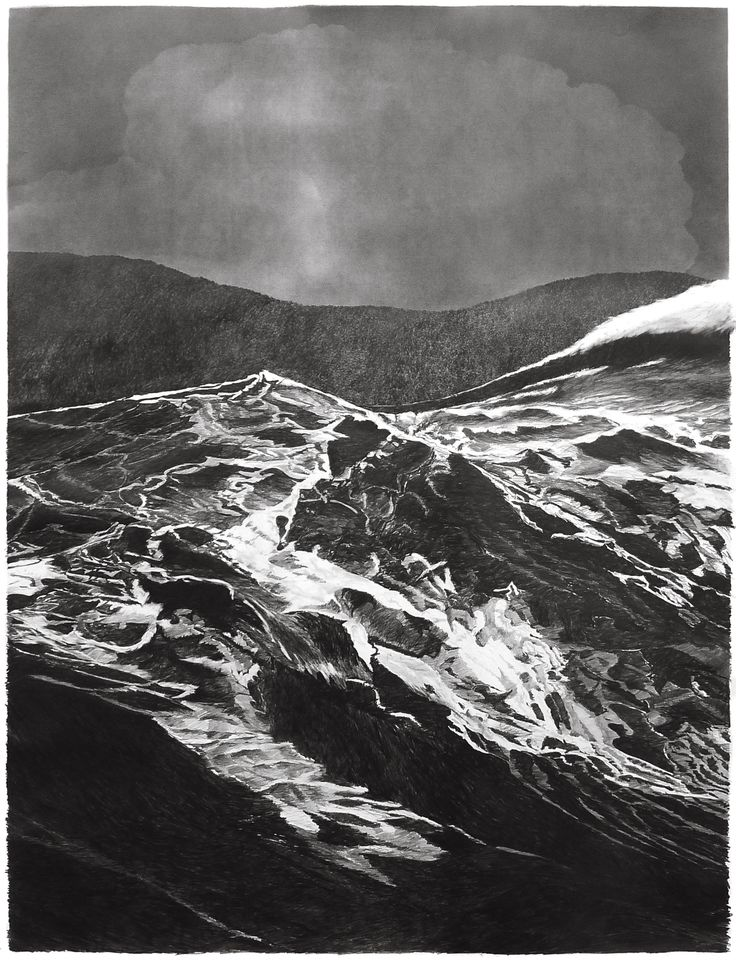 francisco faria - (large sea of the levant, series) the third wave, 1st panel, 150 x 115 cm, graphite on paper, 2013.