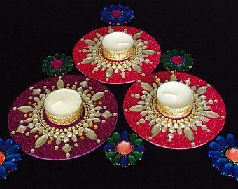 pink red or purple Kundan Rangoli Mandala decor Table by CozMHappy