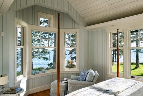 Paneled & painted walls & ceiling: Wall Colors, Cottages Bedrooms, Bedrooms Design, The View, Traditional Bedrooms, Lakes Houses, Paintings Colors, Master Bedrooms, Portland Maine