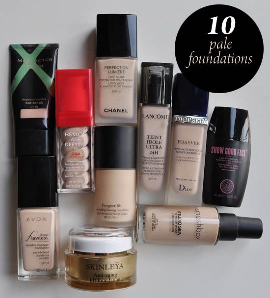 10 pale foundations for Irish & Celtic Skin tones. From Jan 2012 and a few brands not readily available in US