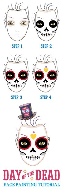 A 5 step tutorial on how to face a calvera or sugar skull for Day of the Dead  or el dia de los muertos.. https://happythought.co.uk/day-of-the-dead/skull-face-paint-tutorial  #tutorial #calaveratutorial #facepaint