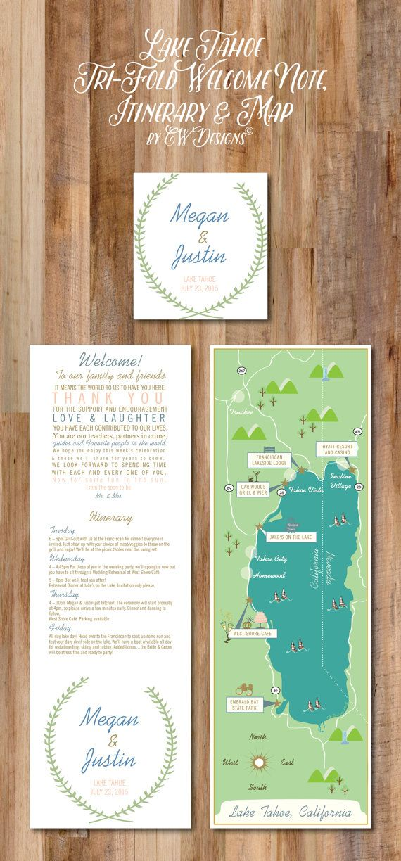 Lake Tahoe Wedding Map & Itinerary Tri-Fold by cwdesigns2010
