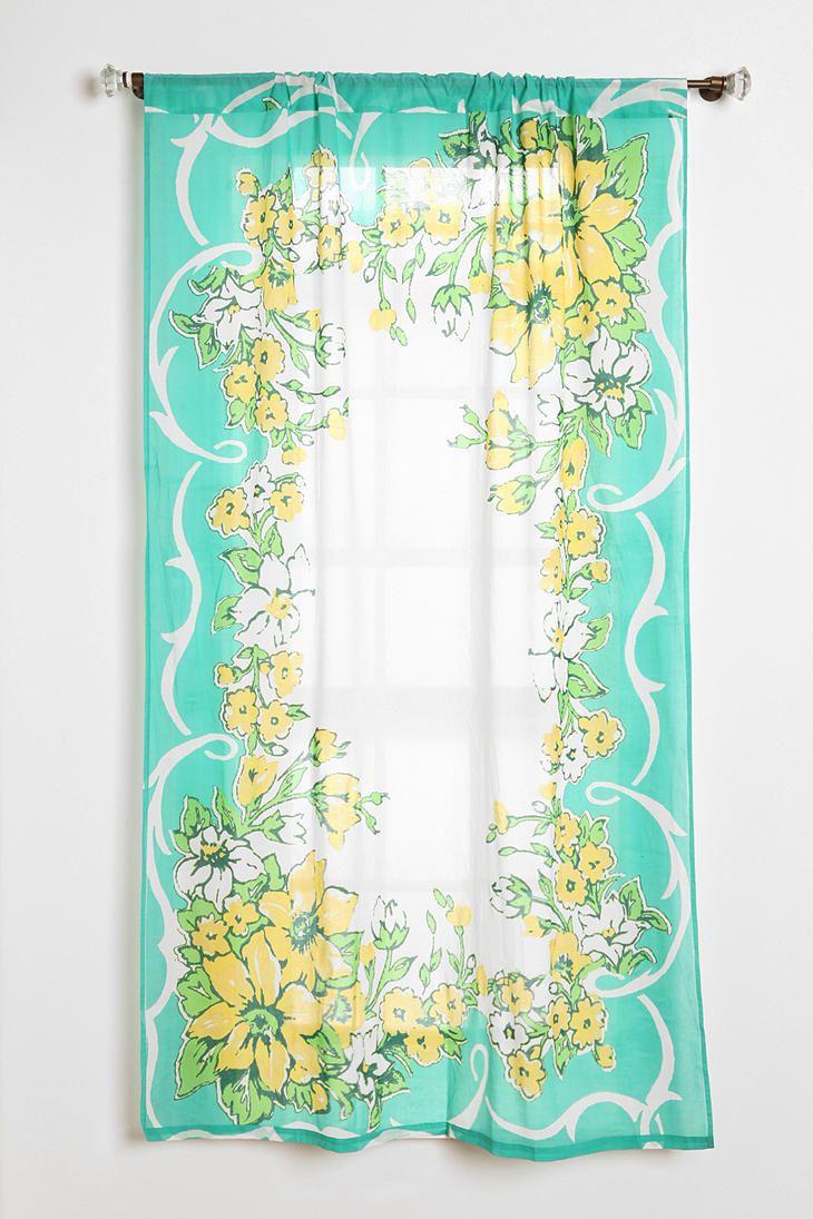 Grayson silver gray jacquard fabric cloth bathroom bath shower curtain - Shop Plum Bow Floral Hanky Curtain At Urban Outfitters Today