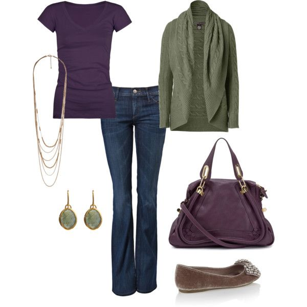 green,purple, created by andwegodancing on PolyvoreColors Combos, Fashion, Color Combos, Style, Clothing, Green, Colors Combinations, Fall Outfit, Cute Outfit