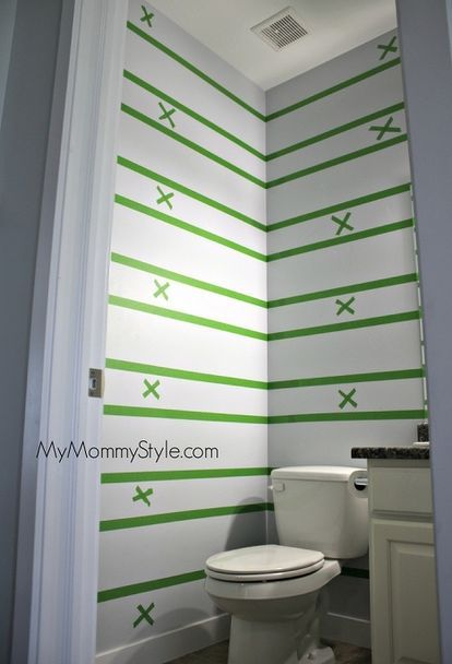 how to paint horizontal stripes, bathroom ideas, how to, painting, small bathroom ideas