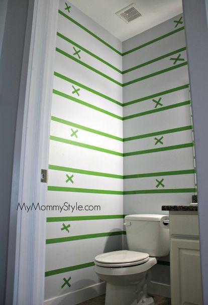 how to paint horizontal stripes, bathroom ideas, how to, painting, small bathroom ideas
