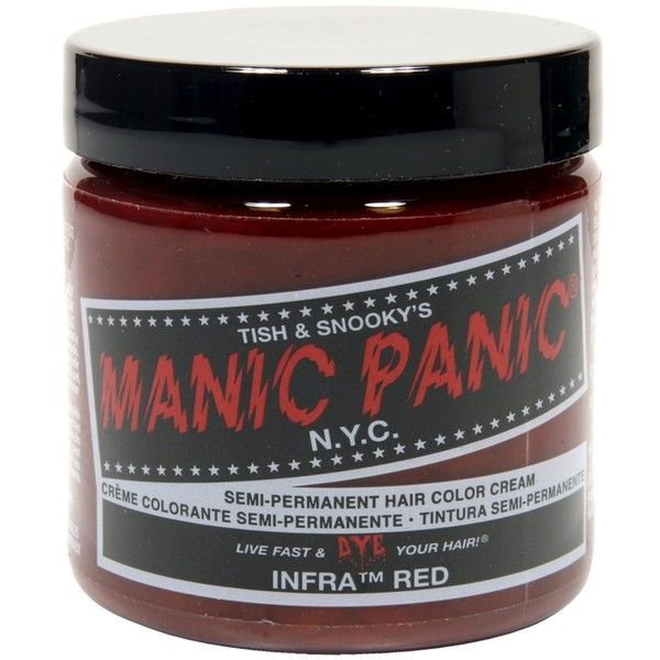 Manic Panic Infra Red Hair Dye ($15) ❤ liked on Polyvore featuring manic panic, dye, hair and hair dye